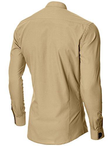 MODERNO Slim Fit Grandad Kragen Herrenhemd (MOD1427LS) Beige