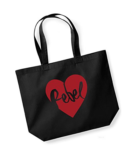 Rebel Heart - Large Canvas Fun Slogan Tote Bag Black/Red