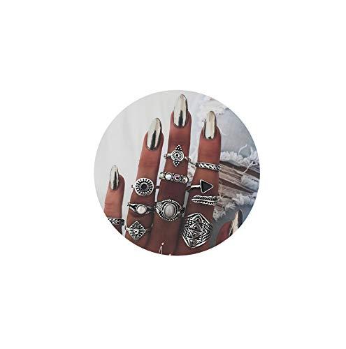 AMDXD 10 Pezzi Ragazze Anello Impostato Triangolo Rotondo Zirconia Cubica Midi Anelli Argento Punk Anelli Set