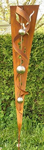 Gartendeko Garten Skulptur Rost Stecker mit Glanz Edelstahlkugeln