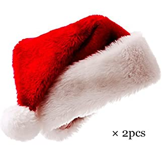 Meiwash Gorro de Navidad Sombrero de Santa Claus Niño Adulto Fiesta Suministros Navidad Rojo Peluche Gorro Sombrero Adolescente (Entre 6 y 14 años)×1+Niño (Menos de 5 años)×1, 2pcs
