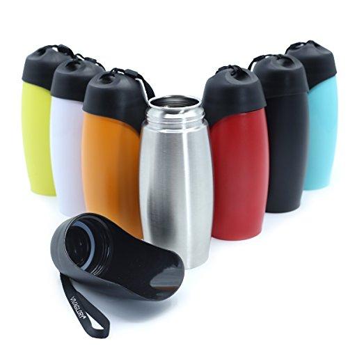 Vivaglory Auslaufsicher Hund Reise Trinkflasche, 750 ml Tragbarer Hund Trinkflasche mit Big Trough, BPA frei, Edelstahl
