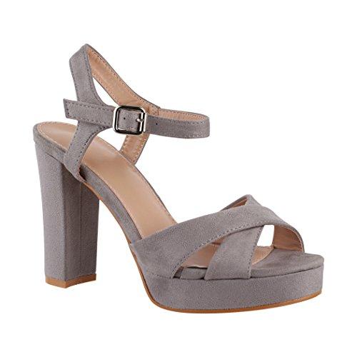 Elara Damen Pumps | Bequeme Peep-Toe Sandalette | Trendige Plateau High Heels | Chunkyrayan 7128-GL Grey-41