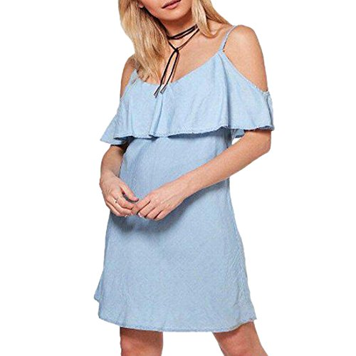Qiyun.Z Damen Loose Fit Kleid Hellblau