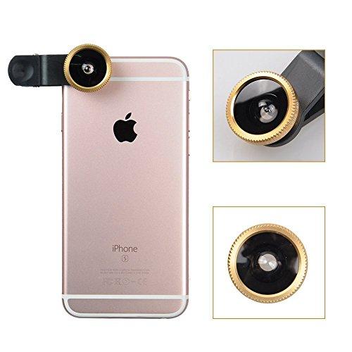 Aventus Apple iPhone 7 Pro (Silver) Lenti Per Cellulare 3 in 1 Kit Fisheye + Obiettivo Grandangolo + Obiettivo Macro con Universale Clip-on 180 Gradi per i Dispositivi Android e iOS oro