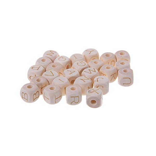 RROVE Masticar Cuentas de Madera de 12 mm para dentición de bebé, Cuentas de Letras de Madera Accesorios para… 1