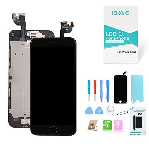 ibaye nero display screen digitizer per iphone 6 (4,7 pollici) schermo lcd touch parti di ricambio (con home pulsante, fotocamera, sensore flex) utensili inclusi