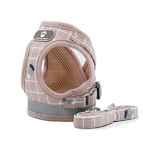 babyzhang Nylon Mesh Kitten Puppy Reflective Hundegeschirr und Leine Set Hunde Weste Geschirr führt Haustier Kleidung für kleine Hunde, Pink, XL -