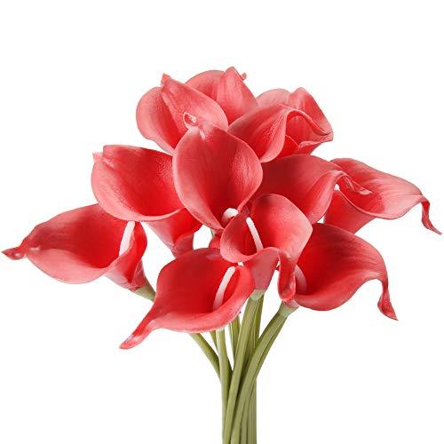 Gemdragon Unechte Blumen,Künstliche Deko Blumen Gefälschte Blumen Seiden Plastik Calla-Lilie Braut Hochzeits blumenstrauß für Haus Garten Party Blumenschmuck 12 Stück (Rot) (Rot Vase Seiden-blumen In)