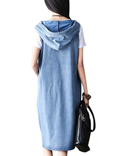 Youlee Damen Sommer Brief Gedruckt Fake Zweiteiliges Kleid Hellblau
