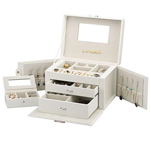 LANGRIA Portagioie Scatole per Gioielli Porta Gioielli Scatola Custodia Box Scatola Case Size Mini da Viaggio Inclusa(White)