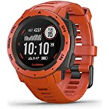 Garmin Instinct, Rugged Outdoor Watch with GPS, Features GLONASS and Galileo, Heart Rate Monitoring and 3-Axis Compass, Flame Red