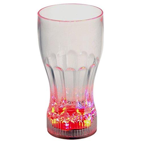 Rattan4Life Bella casa Glas Becher Colaglas 350 ml LED Farbwechsel bunt RGB mit Batterie wechselbar Bar Kunststoff Trinkglas Beleuchtet Cocktail (Kunststoff Becher Farbwechsel)