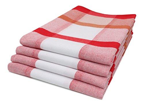 ZOLLNER 4er Set Geschirrtücher Baumwolle, 50x70 cm, rot (weitere verfügbar) (Geschirrtuch Rot)