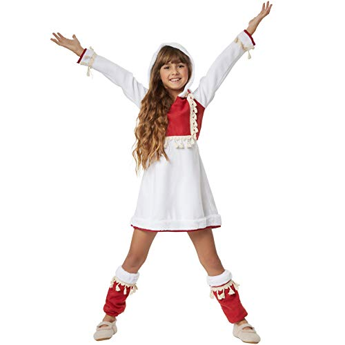 Kinder Kostüm Eskimo - dressforfun 900516 - Mädchenkostüm Eskimomädchen, Traditionelles Gewand in Form eines Kurzkleids inkl. Stulpen (152 | Nr. 302581)
