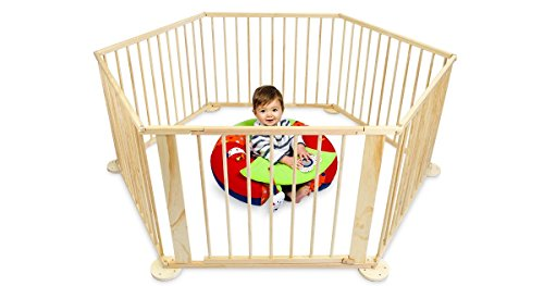 InfantSafe Baby Playpen - Best 6-Sided Solid Wood Play Pen w/ Soft Foam Playmat and 100 Coloured Balls