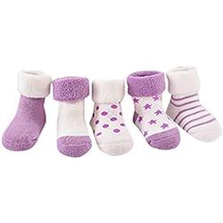 Amlaiworld 4 Pares Calcetines de bebé recién nacidos niñas niños Zapatos de bebé zapatillas de dibujos animados Calcetines antideslizantes para bebés (Púrpura, Tamaño:0-6Mes)