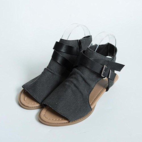 CLEARANCE SALE! MEIbax frauen fisch mund schuhe sandalen wohnung ferse solide knöchelriemen schuh - sandalen (38, Schwarz) - Schwarzen Frauen Wohnungen