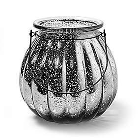 Glaslaterne Windlicht mit Henkel Pumpkin Kürbis Kerzenglas Laterne mittel Silber Ø 18 cm, H. 18 cm Dekoglas als Tischdekoration