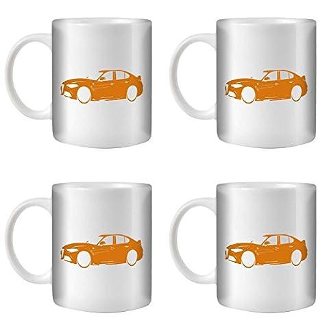 STUFF4 Tea/Coffee Mug/Cup 350ml/4 Pack Orange/Alfa Romeo Giulia/White Ceramic/ST10
