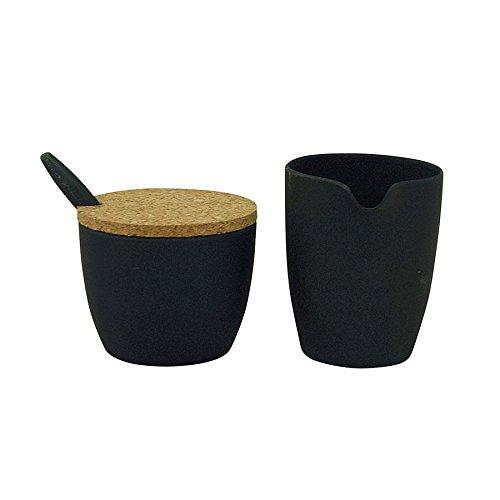 Milch- und Zuckerset \'Dash & Dulce\' - aus Bambusfasern und Mais, Farbe:Carbon Black