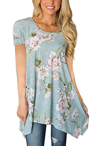 DJT FASHION Womens Summer Short Sleeve Floral Print Irregular Hem Asymmetrical Loose Fit Tunic Tops