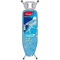 Vileda Bravo - Tabla de planchar mediana, altura regulable 80 - 97 cm, con funda de espuma y algodón para un planchado más cómodo, medidas: 140 x 48 cm, color azul