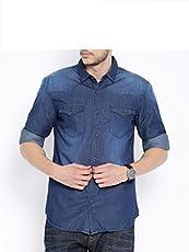 Urbano Fashion Men's Dark Blue Casual Denim Shirt