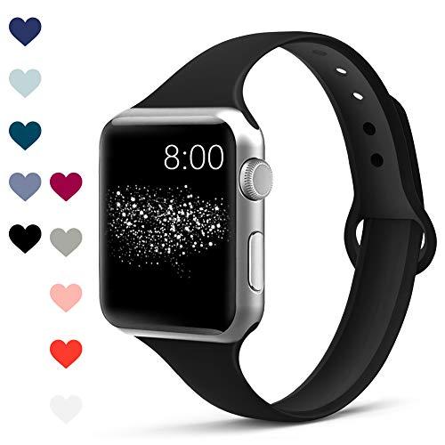 Jiamus Armband Kompatibel für Apple Watch 38mm 42mm 40mm 44mm, Schmales Weiche Silikon Wasserdicht Ersatz Uhrenarmbänder für Apple Watch Series 4, Series 3, Series 2, Series 1 12 Farben,42mm(Schwarz)