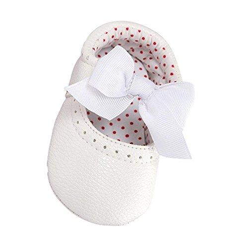 Turnschuhe Babyschuhe Neugeborenen Kleinkind Leder T-Strap Schuhe Sportschuh Jungen Lauflernschuhe Mädchen Krippeschuhe Krabbelschuhe Streifen-beiläufige Wanderschuhe LMMVP (Weiß, 11CM (0~6M))