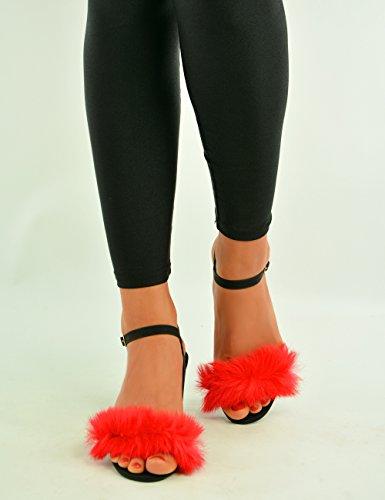 Cucu Fashion ,  Damen Peep Toes Rot