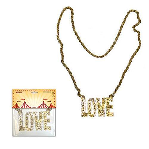 PARTY DISCOUNT ® Kette LOVE, Goldfarben PREISHIT (Jahre Beste Kostüm 80er)