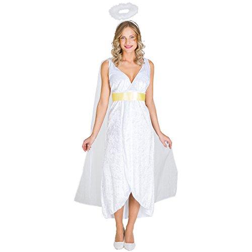 Frauenkostüm zauberhafter Engel Esma | Langes, samtartiges Kleid | Integrierter Tüll in Flügeloptik | inkl. Gürtel und Heiligenschein (S | Nr. (Kostüme Grinch Der Günstige)