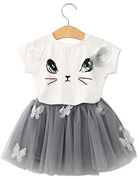 Niña princesa vestido,Sonnena gato patrón camiseta tops de nuevo diseño manga corta falda para niñas lindo tutú...