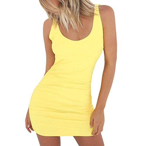 Yinew Damen Hüfte Kleid Damen Kleid Reine Farbe Leck Zurück Sleeveless Engen Paket Gelb L