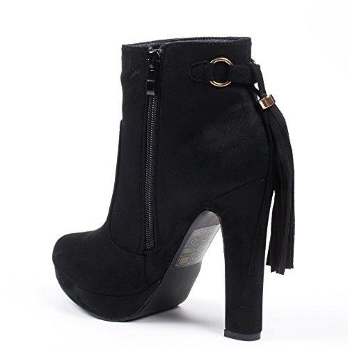 Ideal Shoes–Scarponcini effetto camoscio con talloni spessi e piattaforma impreziositi da frange Zania Nero