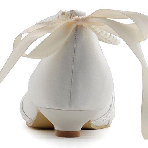 Elegantpark EP41021 Rosa Accessorio Perle Nastro Cinturino Open Toe Scarpe a Tacco Basso da sposa Ballo Avorio