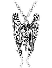 Supernatural Angel alas y Castiel recubrimiento de puntas de inspirado de collar del encanto del–Castiel alas del ángel Combo pentagrama plata cadena en caja de regalo