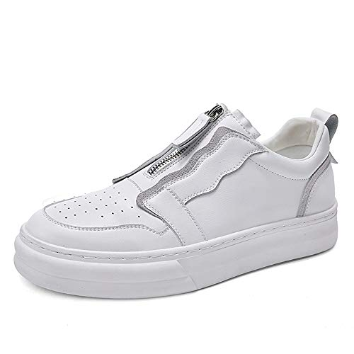 HILOTU Mode Sneakers Für Männer, Reißverschluss Schuhe Aus Echtem Leder Training Laufen Skating Fitting (Color : Weiß, Größe : 43 EU) Top 10 Herren Schuhe
