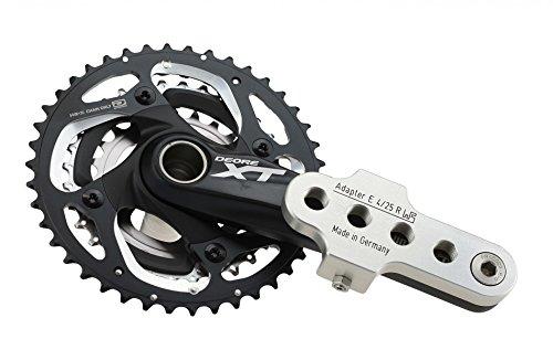 Brand Kurbelarmverkürzer FA E 4/25 Rechts extra breit für E-Bikes und Pedelecs bei Knie-Behinderung, Farbe:Silber