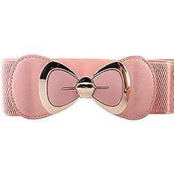 zolimx Cinturones de mujer, Bowknot hebilla cinturón elástico ancho elástico (Talla única, rosa)