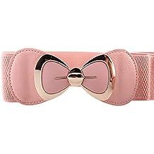 zolimx Cinturones de mujer, Bowknot hebilla cinturón elástico ancho elástico