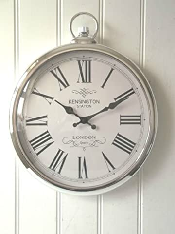 Large Silver Pocket Watch Wall Clock- Perfect for any Living Room, Dining Rooms, Kitchen, Hallway, Lounge, Conservatory or Bedroom