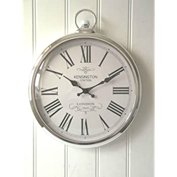 Large Silver Pocket Watch Wall Clock  Perfect For Any Living Room, Dining  Rooms,