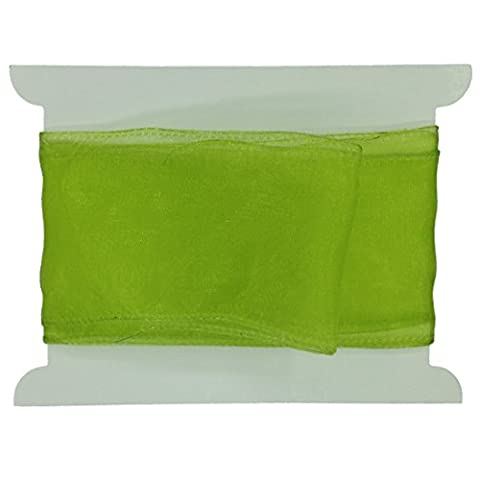 60mm Lime Green Sheer Organza Ribbon, wired edged, custom lengths