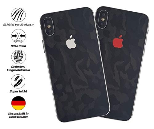 TKCase iPhone X Skin Schutzfolie Rückseite [2 Stück] Carbon,Shadow. (Shadow Black)