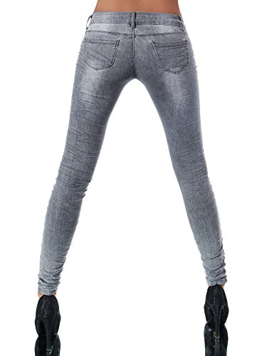 L851 Damen Jeans Hose Hüfthose Damenjeans Hüftjeans Röhrenjeans Röhrenhose Röhre, Größen:34 (XS), Farben:Grau -
