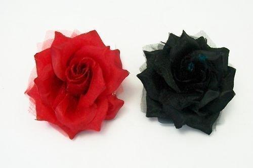 Haarblumen Fascinators, zum Anklippen, für 2 unterschiedliche Stimmungen, je einmal Schwarz und Rot