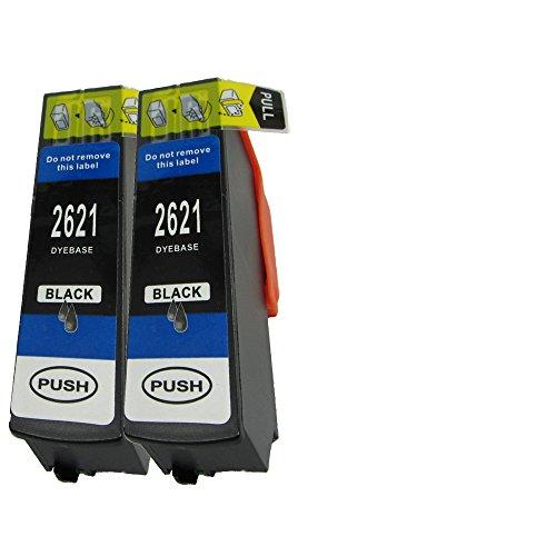 N.T.T.® 2x Stück XL Tintenpatronen kompatibel zu T2621 BK Black / Schwarz Für Epson Expression Premium, XP-510 ; XP-600 ; XP-605 ; XP-610 XP-615 ; XP-700 ; XP-710 ; XP-800 ; XP-810