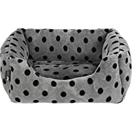 Petface Grey and Black Dots Square Puppy/Dog Bed - Medium